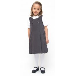 Girls Classic School Pinafore - Grey - Infant