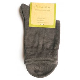 100 percent  Organic Cotton Ankle School Socks - Grey