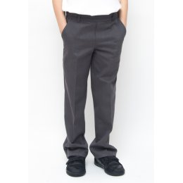 Boys Classic Fit School Trousers With Adjustable Waist - Grey - Junior