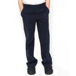 Boys Classic Fit School Trousers With Adjustable Waist - Navy - Junior