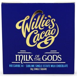 Willies Cacao Milk of The Gods Rio Caribe 44 percent  Milk Chocolate Bar - 50g