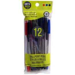 Recycled Medium Ballpoint Pens - 12 Pack - Assorted Coloured Ink