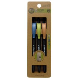 Recycled Retractable Medium Ballpoint Pens - 3 Pack - Black Ink