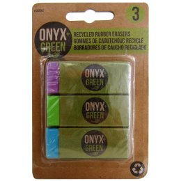 Recycled Rubber Erasers With Sleeves - 3 Pack