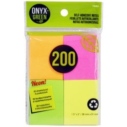 Recycled Paper Self-Adhesive Notes - 4 x 50 Sheets - Assorted Neon Colours