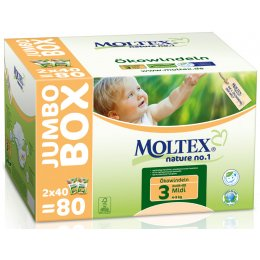 Moltex Nature Disposable Nappies - Midi - Size 3 - Jumbo Box of 80