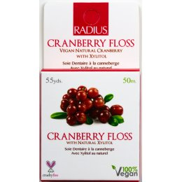Radius Vegan Xylitol Dental Floss - Cranberry - 50 Metres