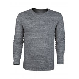Mens Organic Slub Jersey Round Neck Long Sleeve T-Shirt - Steel