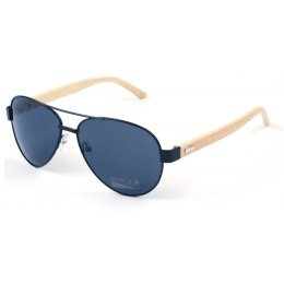 Aviator Bamboo Sunglasses - Black