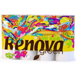 Renova Green 100 percent  Recycled Toilet Paper - Bio Balm Care - 12 Pack