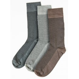 Mens Assorted Patterned Bamboo Socks - 3 Pack - Size 6-11