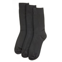 Womens Non-Elastic Black Bamboo Socks - 3 Pack - Size 4-7