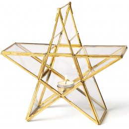Gold Standing Star Tealight Holder