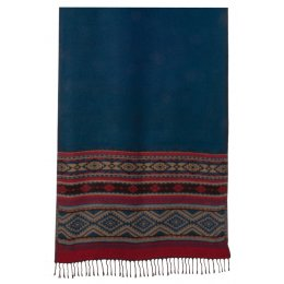 Fair Trade Large Aztec Stole Scarf - Blue Stripe - 65x180 cm
