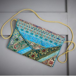 Fair Trade Recycled Sari Clutch bag With Strap - Turquoise