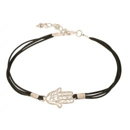 Fair Trade Hamsa Hand Bracelet - Black