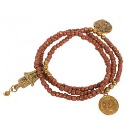 Fair Trade Hamsa Hand Bead Bracelet