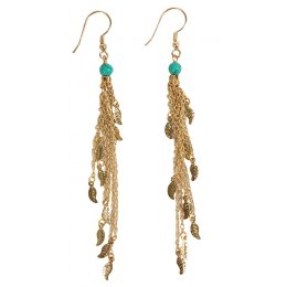 Fair Trade Drop Earrings With Leaves - Gold