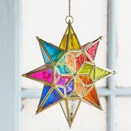 Large Hanging Multi-Coloured Star Glass Lantern