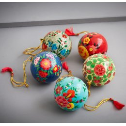 Assorted Floral Hanging Christmas Baubles - Set Of 4