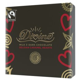 Divine Milk & Dark Chocolate Caramel Belgian Hearts - 42g