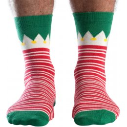 Doris & Dude Mens Red Stripe Bamboo Christmas Socks