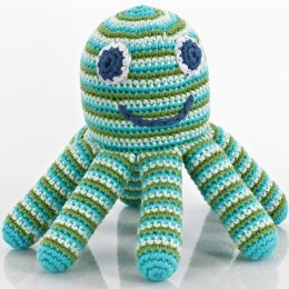 Fairtrade Octopus Crochet Toy Rattle - Blue & Green