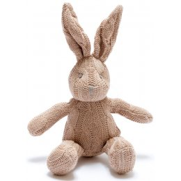 Organic Cotton Cable Knit Bunny Rabbit Rattle Toy - Brown