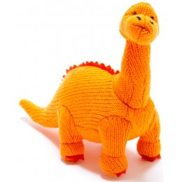 Large Knitted Diplodocus Dinosaur Soft Toy - Orange