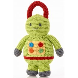 Fairtrade Robot Baby Toy Rattle - Lime Green