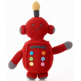 Fairtrade Robot Baby Toy Rattle -Red