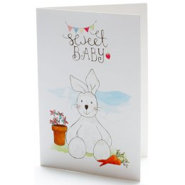 New Born Baby White Bunny Card