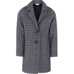 Nomads Diamond Handloom Cotton Coat - Navy