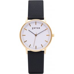 Votch New Collection Vegan Leather Watch - Black & Gold