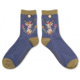 Powder Bamboo Stag Ankle Socks
