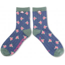 Powder Bamboo Rosebud Ankle Sock
