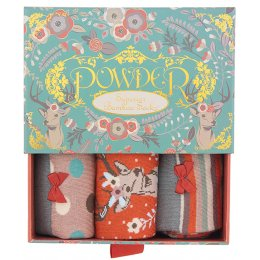 Powder Bamboo Ladies Sock Gift Box - Stag