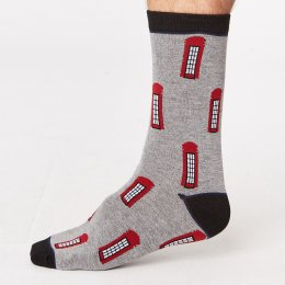 Thought Mens London Bamboo Socks - Phone Box