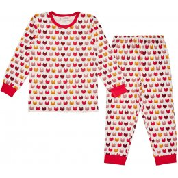 Sense Organics Long John Girls Pyjamas - Cats
