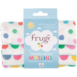 Frugi Lovely Muslin Cloths - Spots & Bunting - Pack of 2