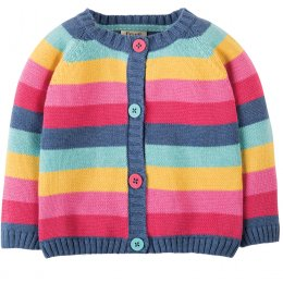 Frugi Little Happy Day Pink Rainbow Stripe Cardigan