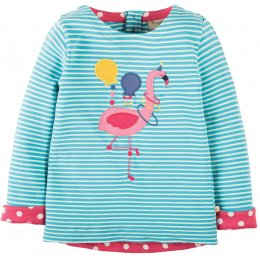 Frugi Alana Cosy Flamingo Applique Top - Aqua Breton Stripe
