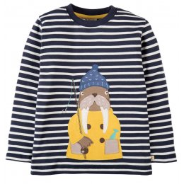 Frugi Discovery Walrus Applique Top - Navy Breton