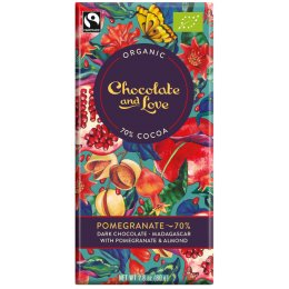 Chocolate & Love Organic Fairtrade Pomegranate & Almond 70 percent  Dark Chocolate Bar - 80g