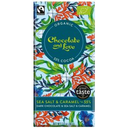 Chocolate & Love Organic & Fairtrade Sea Salt & Caramel 55 percent  Dark Chocolate Bar - 80g