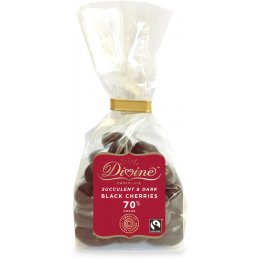 Divine 70 percent  Dark Chocolate Black Cherries 150g