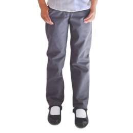 Girls Classic Fit Trousers - Grey - 3yrs