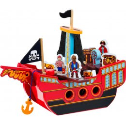 Lanka Kade Wooden Pirate Ship With 3 x Pirates & Accessories