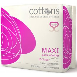 Cottons Natural Super Maxi Pads with Wings - Pack of 10