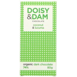 Doisy & Dam Organic Dark Chocolate Coconut & Lucuma Bar - 80g